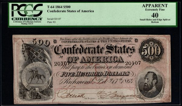 1864 $500 T-64 Confederate Currency PCGS 40 APPARENT Stonewall Jackson Civil War Note Item #80116994