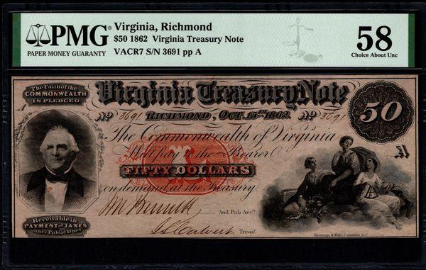 1862 $50 Virginia Treasury Note Richmond PMG 58 Item #1991404-005