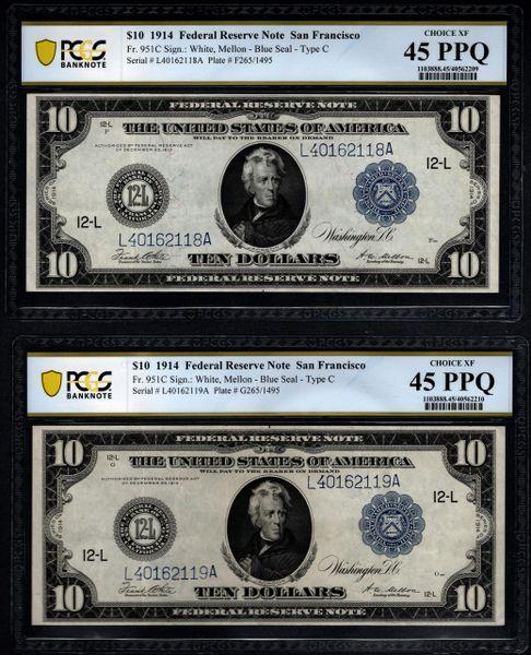 Lot of Two Consecutive 1914 $10 San Francisco FRN PCGS 45 PPQ Fr.951C Item #40562209/10