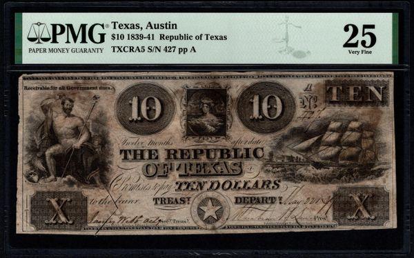 1839-1841 $10 Austin Republic of Texas PMG 25 Item #1991285-004