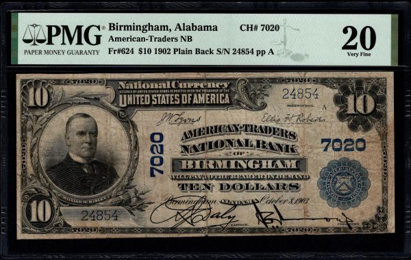 1902 $10 American-Traders National Bank Birmingham Alabama PMG 20 Fr.624 Charter CH#7020 Item #1859907-091