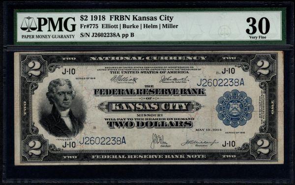 1918 $2 Kansas City FRBN Battleship Note PMG 30 Fr.775 Item #1516146-020