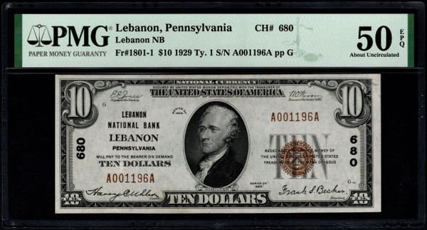 1929 $10 Lebanon National Bank Pennsylvania PMG 50 EPQ Fr.1801-1 Charter CH#680 Item #1991328-003
