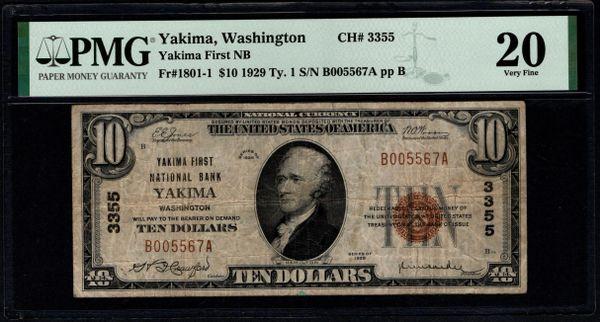 1929 $20 Yakima First National Bank Washington PMG 20 Fr.1801-1 Charter CH#3355 Item #8078937-015