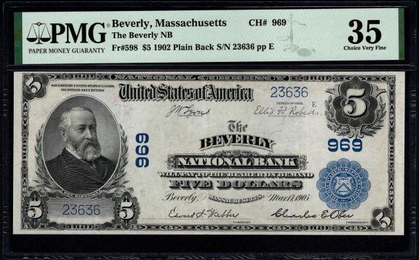 1902 $5 The Beverly National Bank Massachusetts PMG 35 Fr.598 Charter CH#969 Item #8078937-006