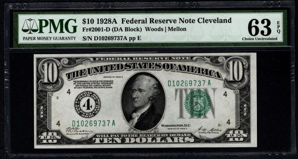 1928A $10 Cleveland FRN PMG Fr.2001-D Numerical District Item #5014649-042
