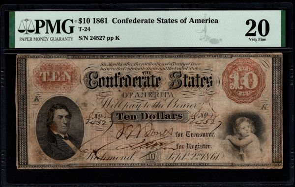 1861 $10 T-24 Confederate Currency PMG 20 Civil War Note Item #1991430-002