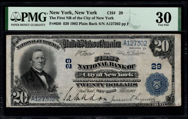 1902 $20 The First National Bank of the City of New York PMG 30 Fr.650 Charter CH#29 Item #1859907-100