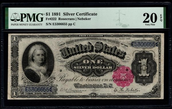 1891 $1 Silver Certificate Martha Note PMG 20 EPQ Fr.222 Item #5014823-001