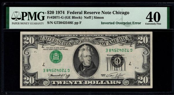 1974 $20 ERROR Inverted Overprint PMG 40 Fr.2071-G Item #1991334-002