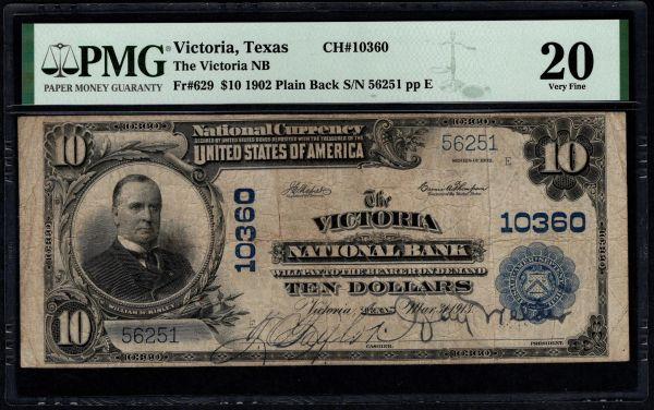 1902 $10 The Victoria National Bank Texas PMG 20 Fr. 629 Charter CH#10360 Item #5014785-010