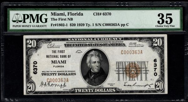 1929 $20 The First National Bank of Miami Florida PMG 35 Fr.1802-1 Charter CH#6370 Item #1746982-002