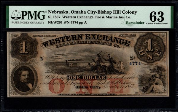 1857 $1 Omaha City Nebraska PMG 63 Item #8073473-023