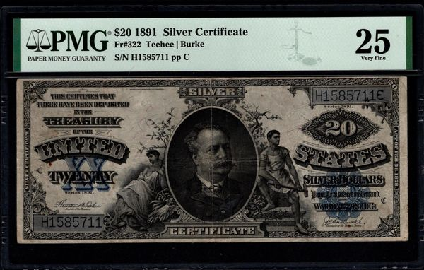 1891 $20 Silver Certificate Manning Note PMG 25 Fr.322 Blue Seal Item #1991107-003