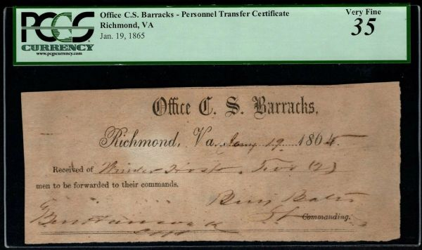 1865 Office of the Confederate States Barracks Personnel PCGS 35 Civil War Item #80787993