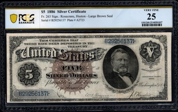 1886 $5 Silver Certificate with Morgan Dollar Back PCGS 25 Fr.263 Item #40581037