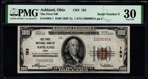 1929 $100 The First National of Ashland Ohio PMG 30 Fr.1804-1 Charter CH#183 Item #8072786-014