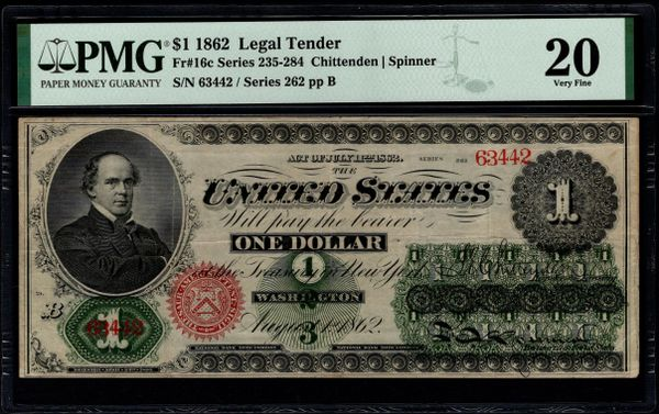 1862 $1 Legal Tender PMG 20 Fr.16c Item #1991523-019