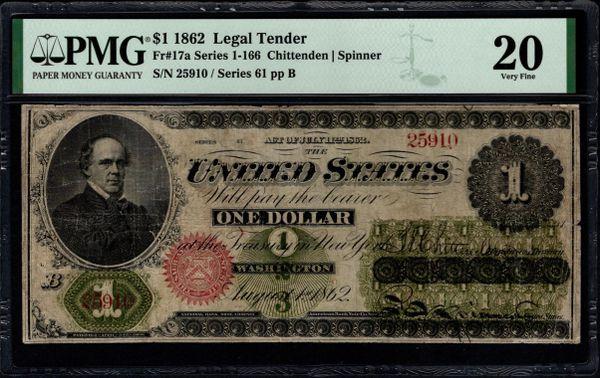 1862 $1 Legal Tender PMG 20 Fr.17a Item #1991421-006