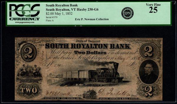 1852 $2 South Royalton Bank Vermont PCGS 25 Item #59046142