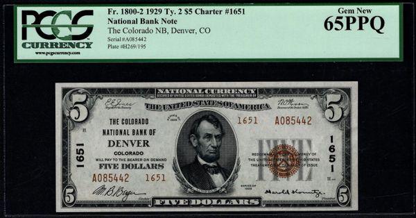 1929 $5 The Colorado National Bank of Denver PCGS 65 PPQ Fr.1800-2 Charter CH#1651 Item #59038059
