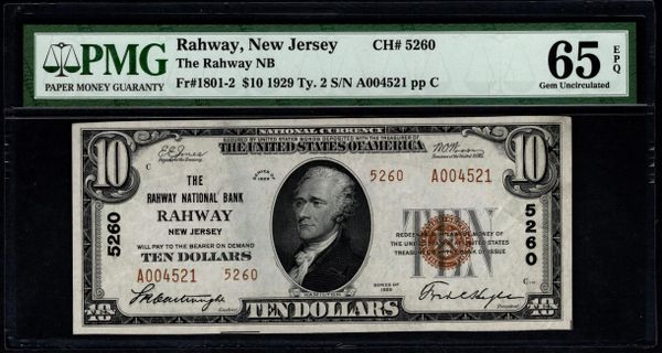 1929 $10 The Rahway National Bank New Jersey PMG 65 EPQ Fr.1801-2 Charter CH#5260 Item #5014258-002
