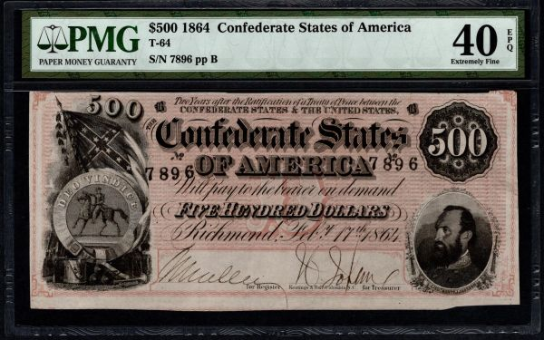 1864 $500 T-64 Confederate Currency PMG 40 EPQ Stonewall Jackson Civil War Note Item #5014612-008