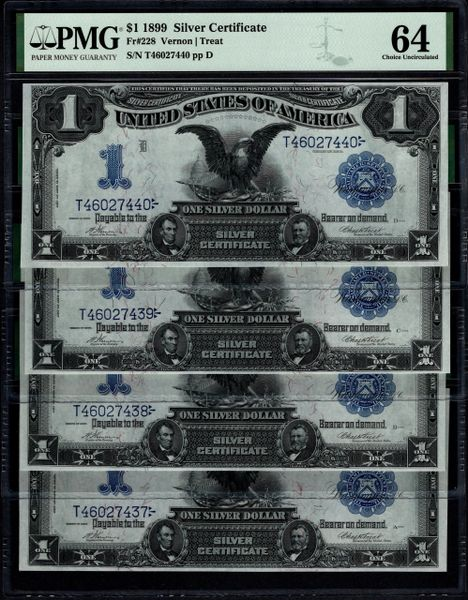 Lot of Four Consecutive 1899 $1 Silver Certificates PMG 58,64,64 & 64 Fr.228 Plate Positions A,B,C & D Item #8075286-002/005