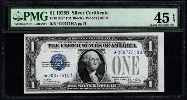 1928B $1 STAR Silver Certificate PMG 45 EPQ Fr.1602* Item #2506028-005