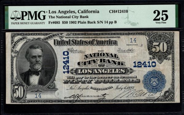 1902 $50 The National City Bank of Los Angeles California PMG 25 Fr.685 Two Digit Serial Number 14 CH#12410 Item #1860129-002