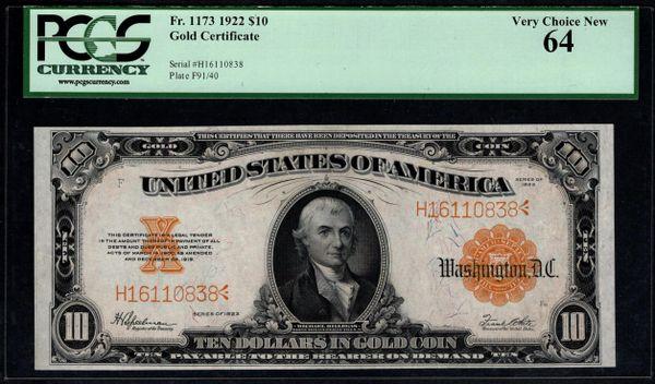1922 $10 Gold Certificate PCGS 64 Fr.1173 Item #59000176