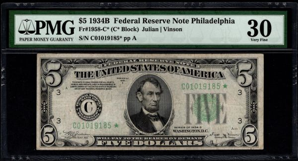 1934B $5 STAR Philadelphia FRN PMG 30 Fr.1958-C* Item #8053394-010