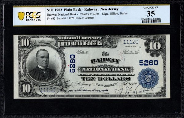 1902 $10 The Rahway National Bank of New Jersey PCGS 35 Fr.633 Charter CH#5260 RARE Item #40388119