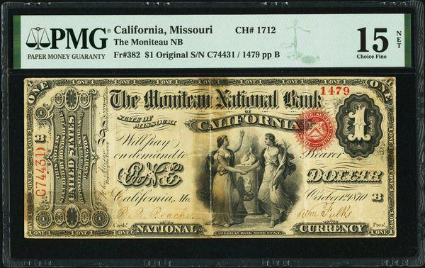 Original Series $1 The Moniteau National Bank of California Missouri PMG 15 NET Fr.382 Charter CH#1712 Item #1991770-007