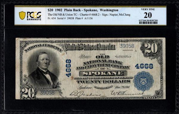 1902 $20 The Old National Bank & Union Trust Co. of Spokane Washington PCGS 20 Fr.654 Charter CH#4668 Item #40387381