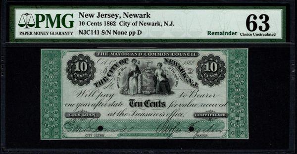1862 Ten Cents City of Newark New Jersey PMG 63 Item #5014284-020