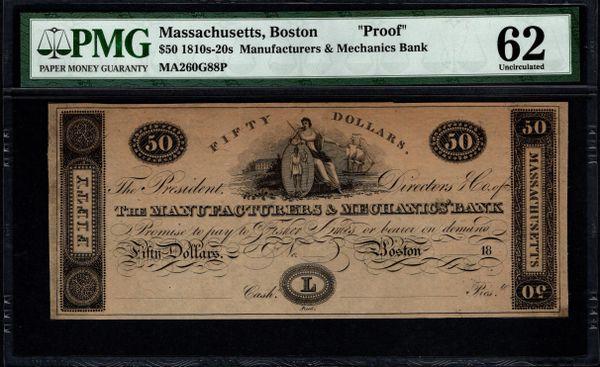1810's-1820's $50 Manufacturerers & Mechanics Bank Boston Massachusetts PROOF Note PMG 62 Item #5014020-001