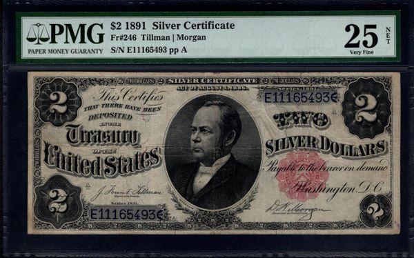 1891 $2 Silver Certificate Windom Note PMG 25 NET Fr.246 Item #1141595-010