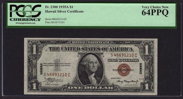 1935A $1 Hawaii Silver Certificate PCGS 64 PPQ Fr.2300 Item #80656871
