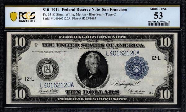 1914 $10 San Francisco FRN PCGS 53 Fr.951C Item #40562211