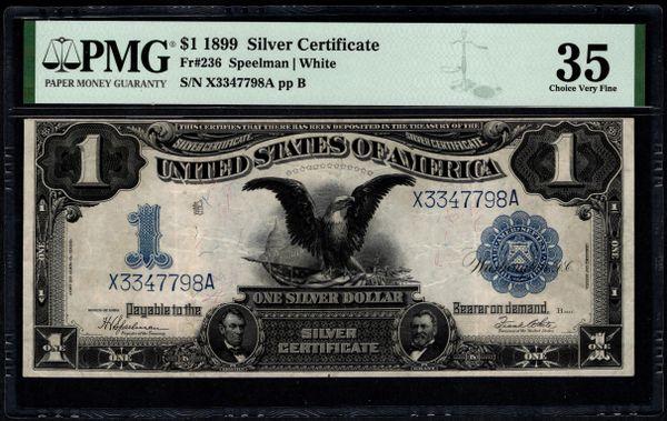 1899 $1 Silver Certificate Black Eagle Note PMG 35 Fr.236 Item #1991172-004