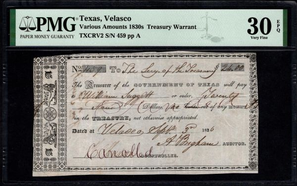 1836 $24 Velasco Government of Texas Treasury Warrant PMG 30 EPQ Item #1991285-011