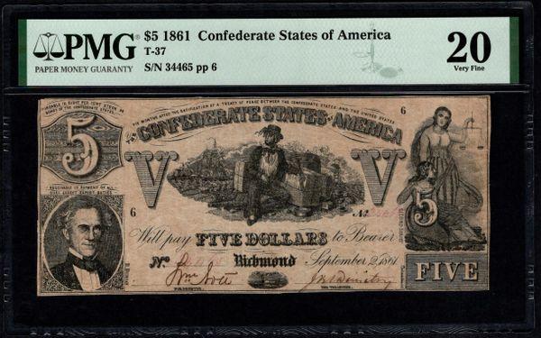1861 $5 T-37 Confederate Currency PMG 20 Civil War Note Item #8075229-007