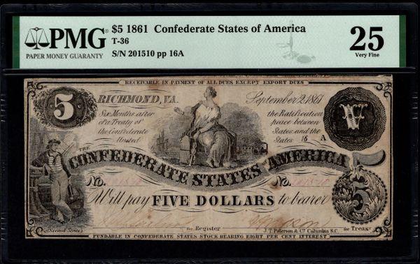 1861 $5 T-36 Confederate Currency PMG 25 Civil War Note Item #8075229-006