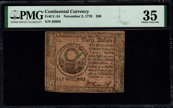 November 2, 1776 $30 Continental Currency PMG 35 CC-54 Item #1991570-001