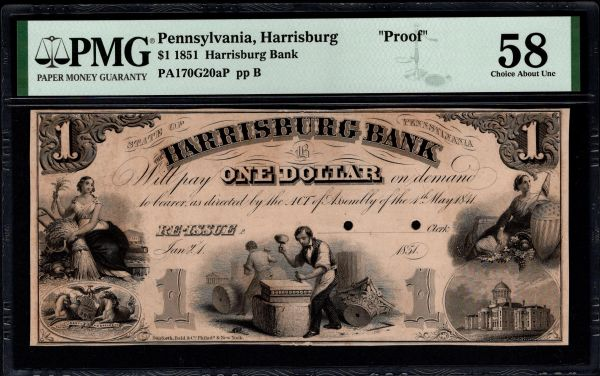 1851 $1 The Harrisburg Bank of Pennsylvania PROOF Note PMG 58 Item #1991493-011