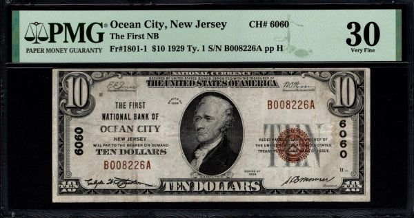 1929 $10 The First National Bank of Ocean City New Jersey PMG 30 Fr.1801-1 Charter CH#6060 Item #1957225-005