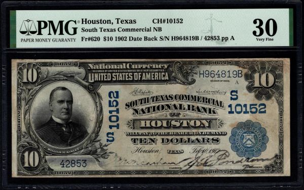 1902 $10 South Texas Commercial National Bank of Houston PMG 30 Fr.620 Charter CH#10152 Item #5014785-002