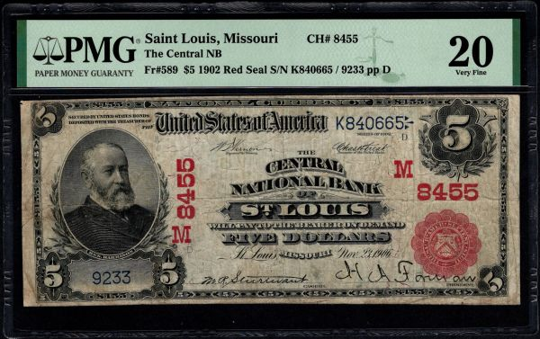 1902 $5 The Central National Bank of St. Louis Missouri Red Seal PMG 20 Fr.589 Charter CH#8455 Item #1991742-017