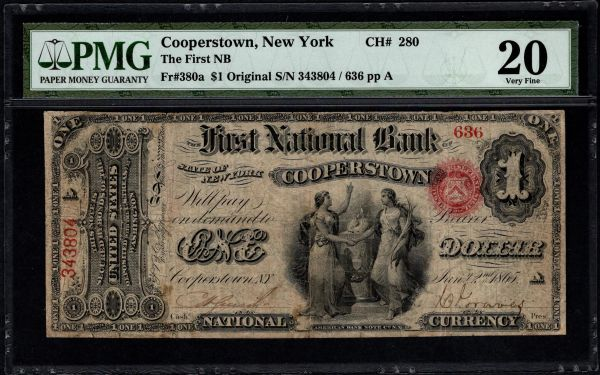 Original Series $1 The First National Bank of Cooperstown New York PMG 20 Fr.380a CH#280 RARE Item #1620703-014